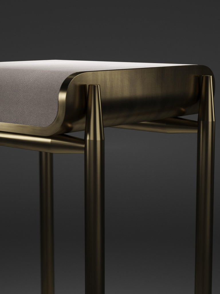 Shagreen Bar Stool with Bronze-Patina Brass Details by Kifu Paris For Sale 5