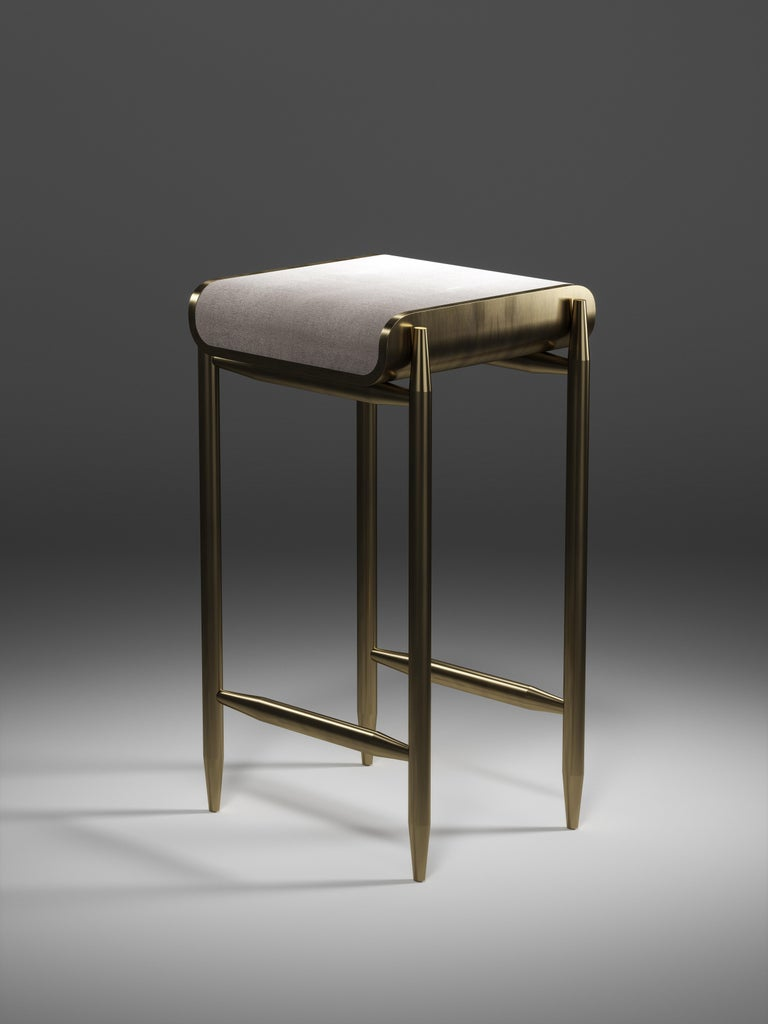 Shagreen Bar Stool with Bronze-Patina Brass Details by Kifu Paris For Sale 6