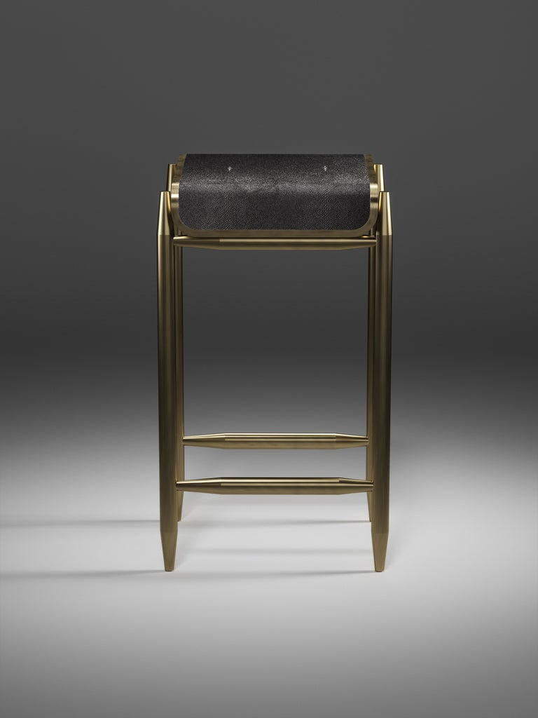 Inspired by the original Dandy Bench by KIFU PARIS (see images at end of slide), the Dandy II Bar Stool is the ultimate luxury seating. The seating area is inlaid in black shagreen and the frame and sides of the bar stool are completely inlaid in