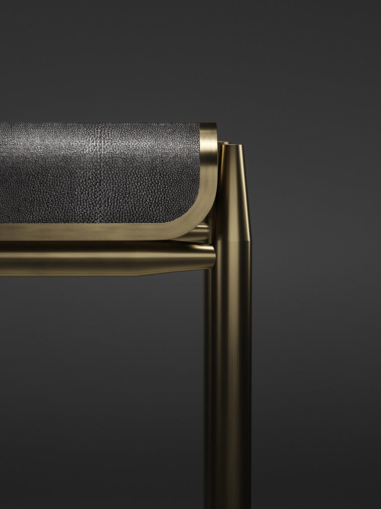 Art Deco Shagreen Bar Stool with Bronze-Patina Brass Details by Kifu Paris For Sale