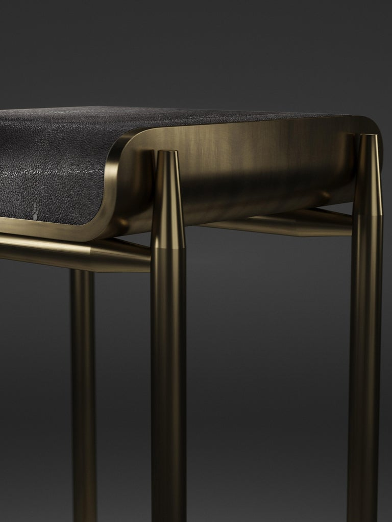 French Shagreen Bar Stool with Bronze-Patina Brass Details by Kifu Paris For Sale