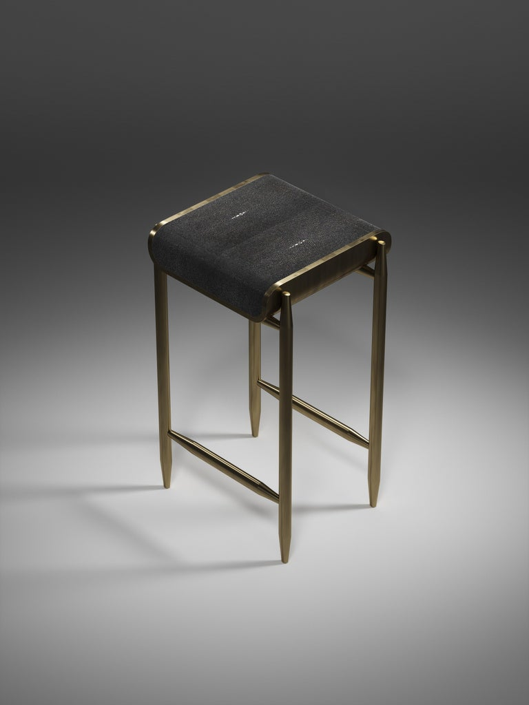 Inlay Shagreen Bar Stool with Bronze-Patina Brass Details by Kifu Paris For Sale