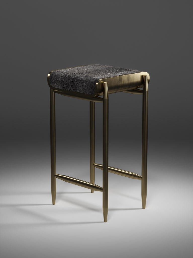 Contemporary Shagreen Bar Stool with Bronze-Patina Brass Details by Kifu Paris For Sale
