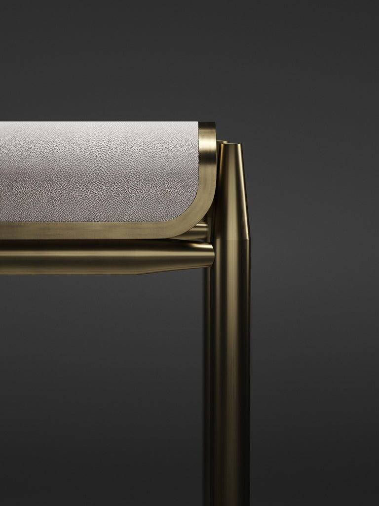 Shagreen Bar Stool with Bronze-Patina Brass Details by Kifu Paris For Sale 1