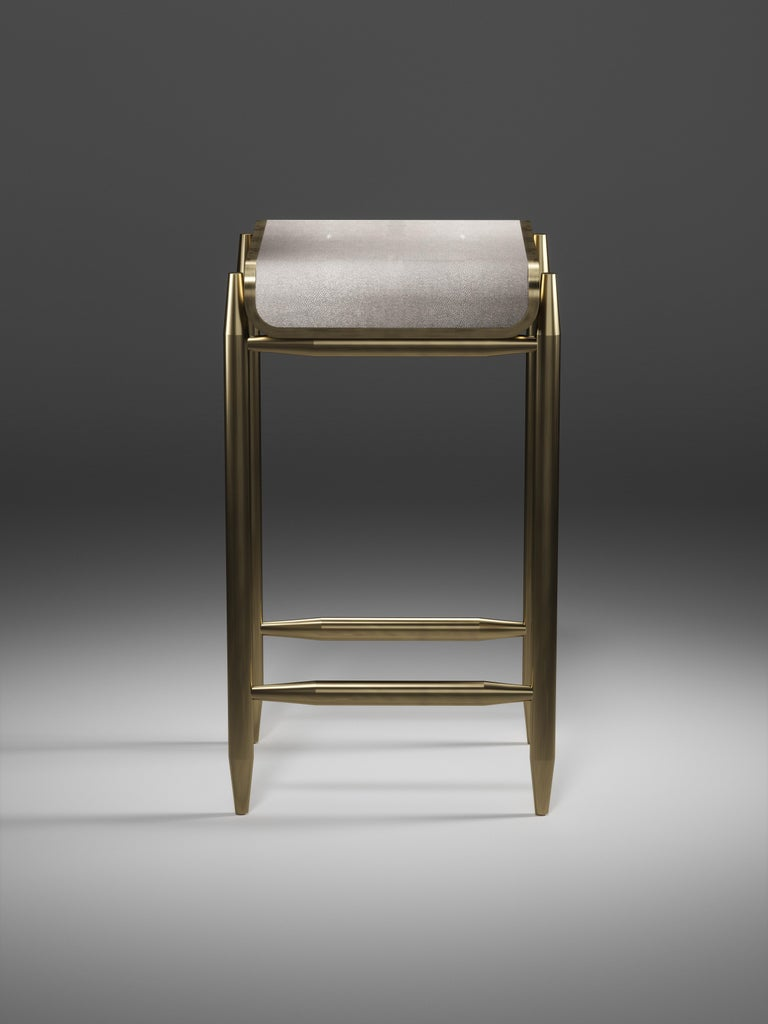 Shagreen Bar Stool with Bronze-Patina Brass Details by Kifu Paris For Sale 2