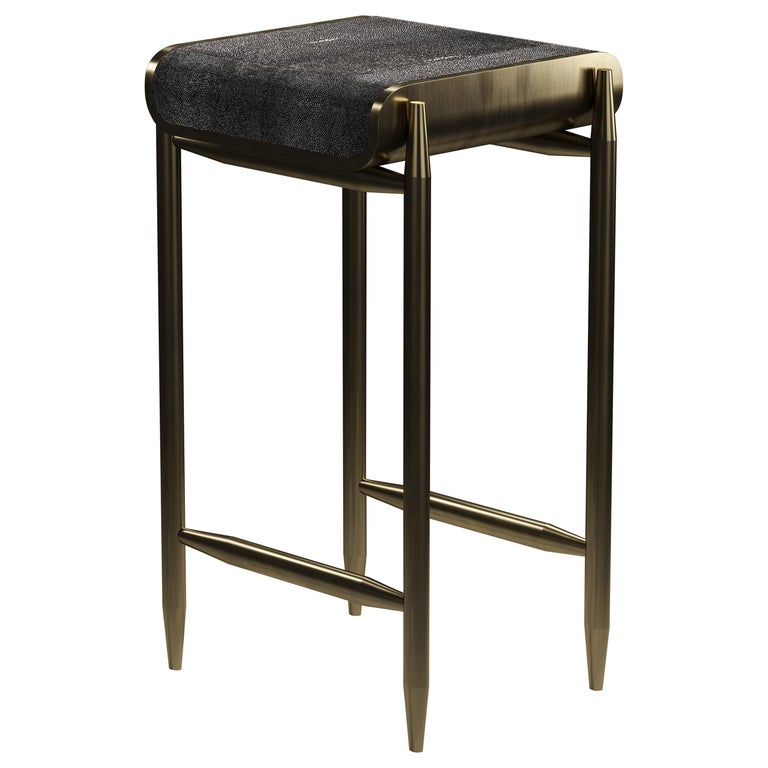 Shagreen Bar Stool with Bronze-Patina Brass Details by Kifu Paris For Sale