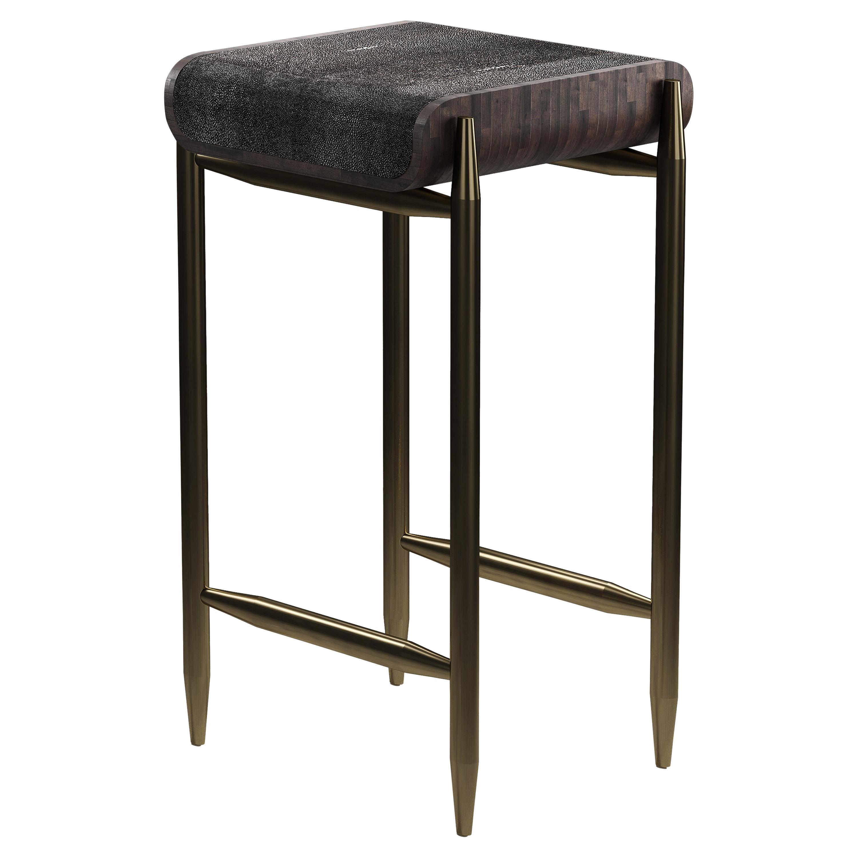 Shagreen Bar Stool with Palmwood and Bronze-Patina Brass Details by Kifu Paris