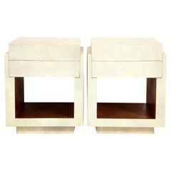 Shagreen Bedside Tables, Cream Color Shagreen & Palm Wood
