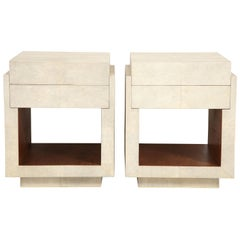 Shagreen Bedside Tables or Side Tables, Cream Color