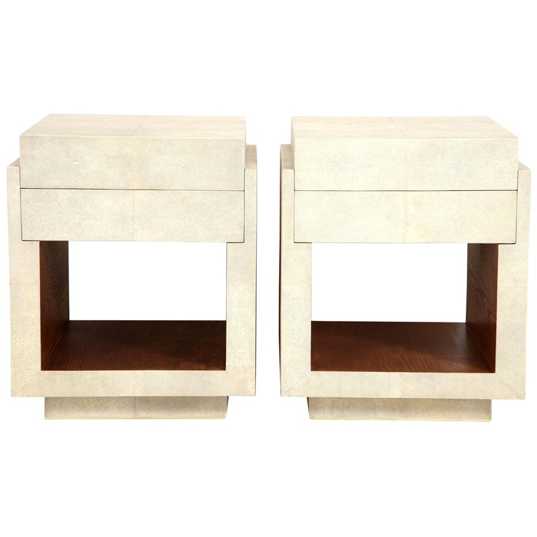 Shagreen Bedside Tables or Side Tables, Cream Color For Sale