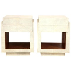Shagreen Bedside Tables or Side Tables, Cream Color, in Stock