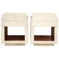 Shagreen Bedside Tables or Side Tables, Cream Color, in Stock in August