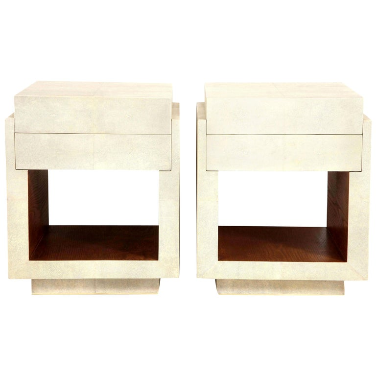 Shagreen Bedside Tables or Side Tables, Cream Color Shagreen and Palm Wood For Sale