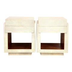 Shagreen Bedside Tables or Side Tables, Cream Color Shagreen and Palm Wood