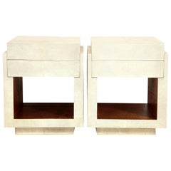Shagreen Bedside Tables or Side Tables, Cream Color Shagreen and Palm Wood, New
