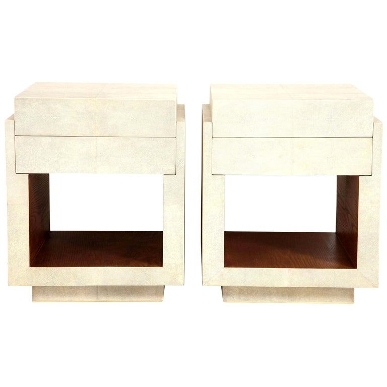 Shagreen Bedside Tables or Side Tables, Cream Color Shagreen & Palm Wood Details For Sale
