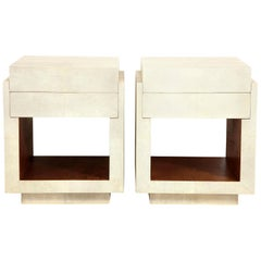 Shagreen Bedside Tables or Side Tables, Cream Color Shagreen & Palm Wood Details