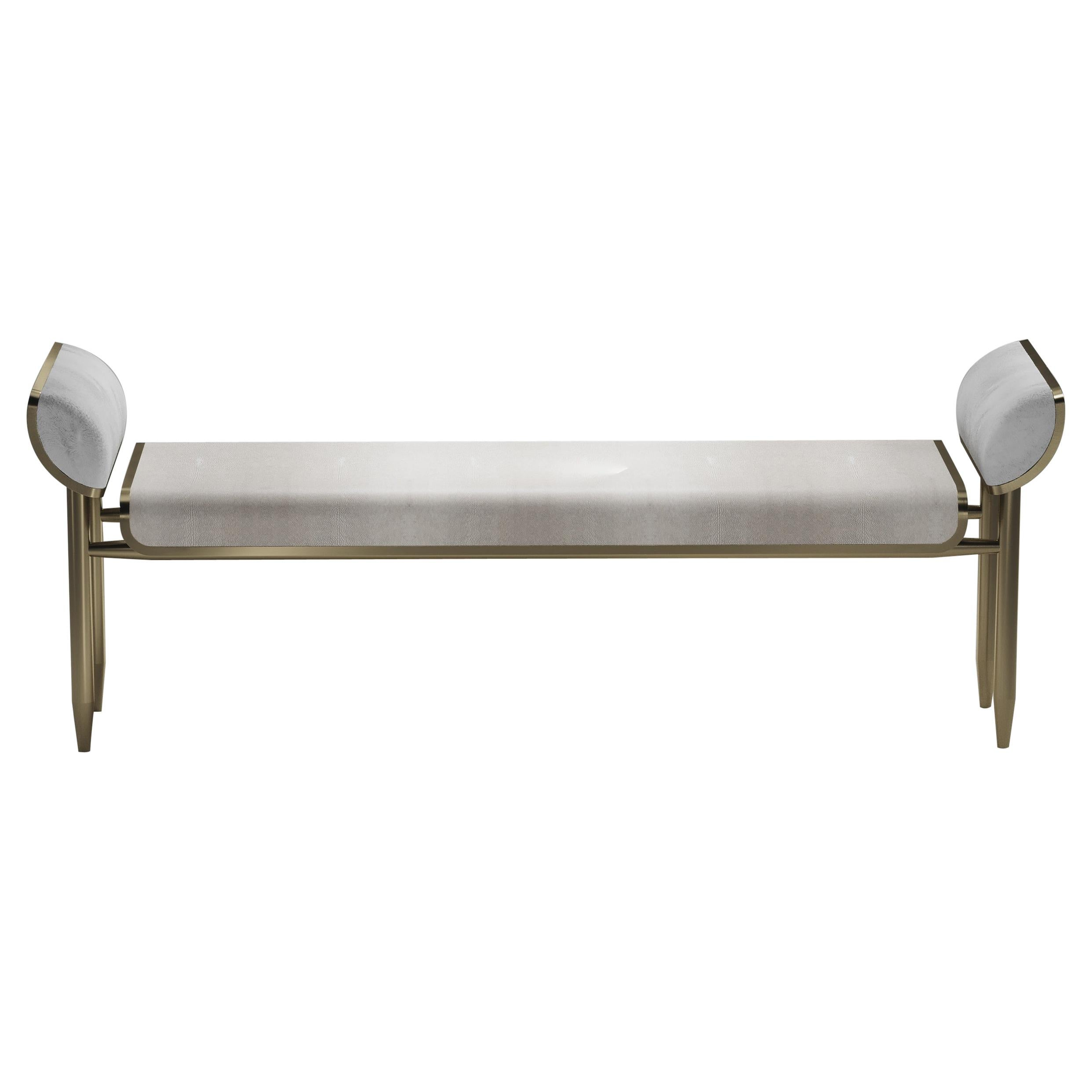 Shagreen Bench with Bronze-Patina Brass and Fur Upholstery by Kifu Paris