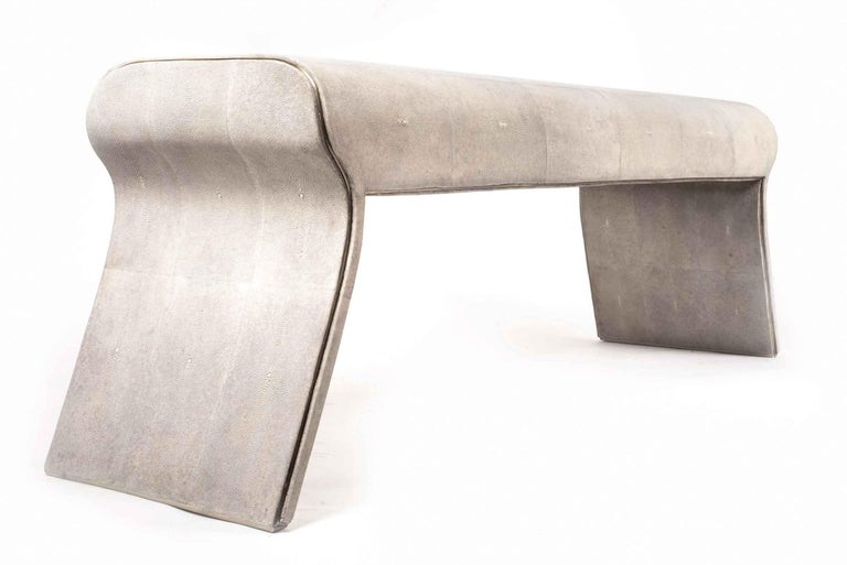 Shagreen Bench with Bronze-Patina Brass Details by Kifu Paris For Sale 13