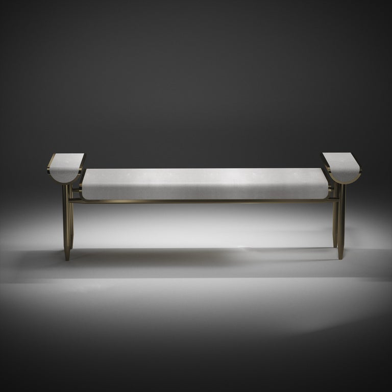 Shagreen Bench with Bronze-Patina Brass Details by Kifu Paris For Sale 3