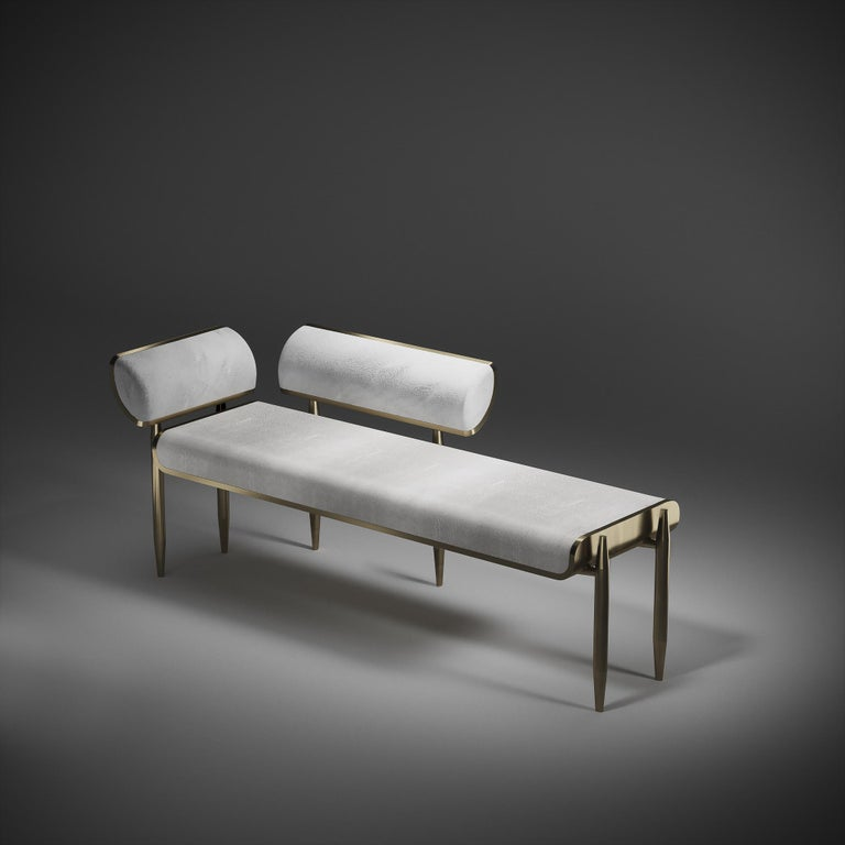 Shagreen Bench with Bronze-Patina Brass Details by Kifu Paris For Sale 8