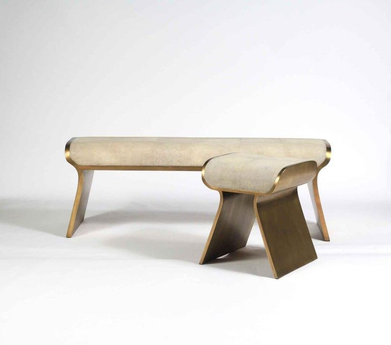 Shagreen Bench with Bronze-Patina Brass Details by Kifu Paris For Sale 12