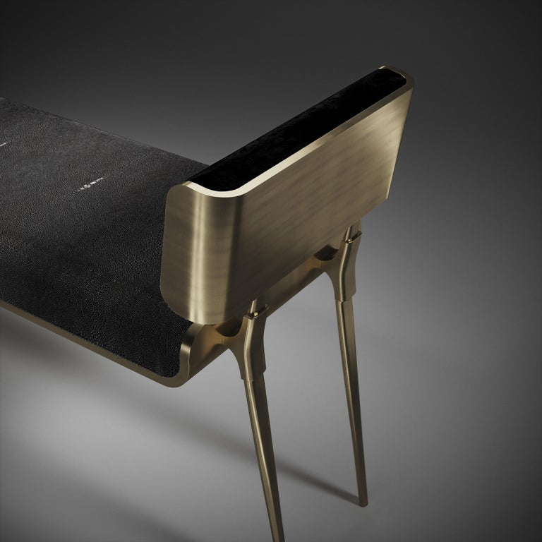 Inspired by the original Dandy Bench byKifu Paris (see images at end of slide), the Dandy II Entrance Bench is the ultimate luxury seating. The seating area is inlaid in black shagreen and the frame, legs and sides of the bench are completely