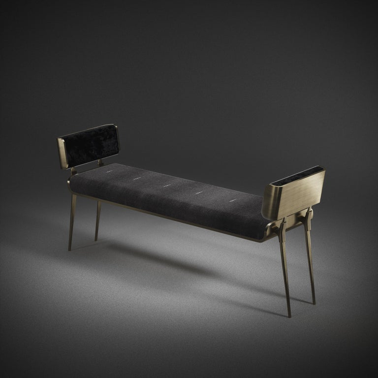 French Shagreen Bench with Bronze-Patina Brass Details by Kifu Paris For Sale