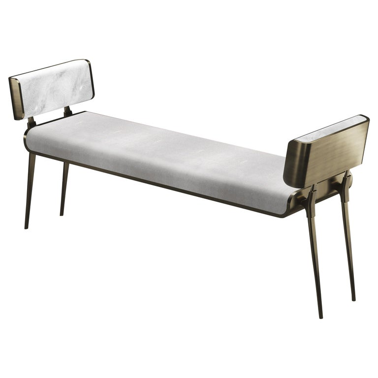 Inlay Shagreen Bench with Bronze-Patina Brass Details by Kifu Paris For Sale