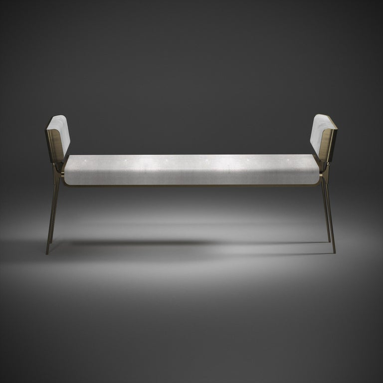 Shagreen Bench with Bronze-Patina Brass Details by Kifu Paris In New Condition For Sale In New York, NY