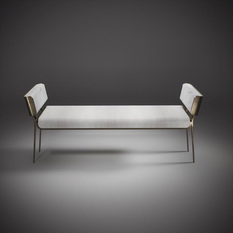 Shagreen Bench with Bronze-Patina Brass Details by Kifu Paris For Sale 2