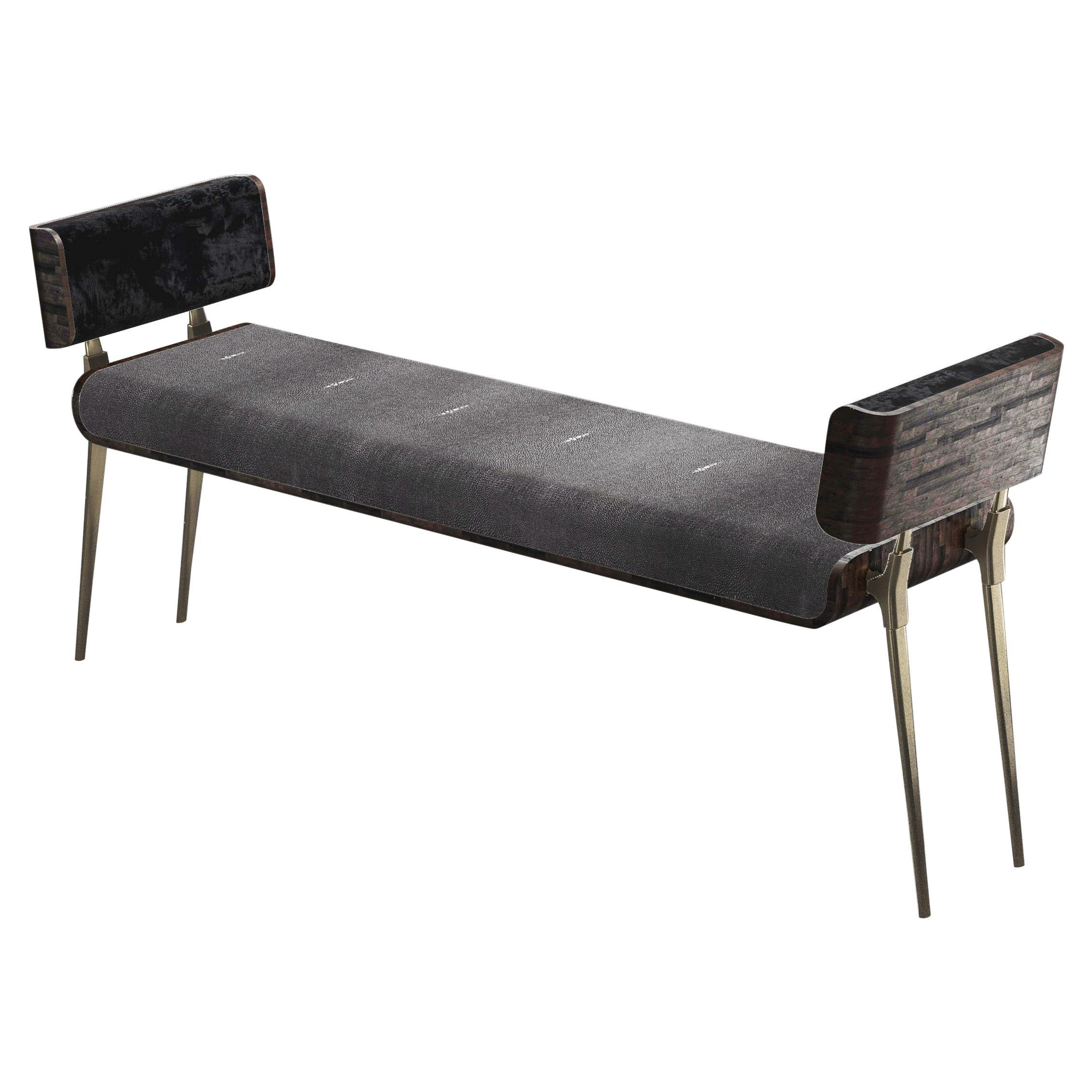 Shagreen Bench with Palmwood and Bronze-Patina Brass Details by Kifu Paris