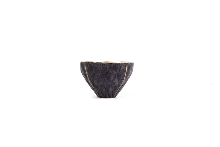 French Shagreen Bowl with Quilting Detailing and Bronze-Patina Brass by Kifu Paris For Sale