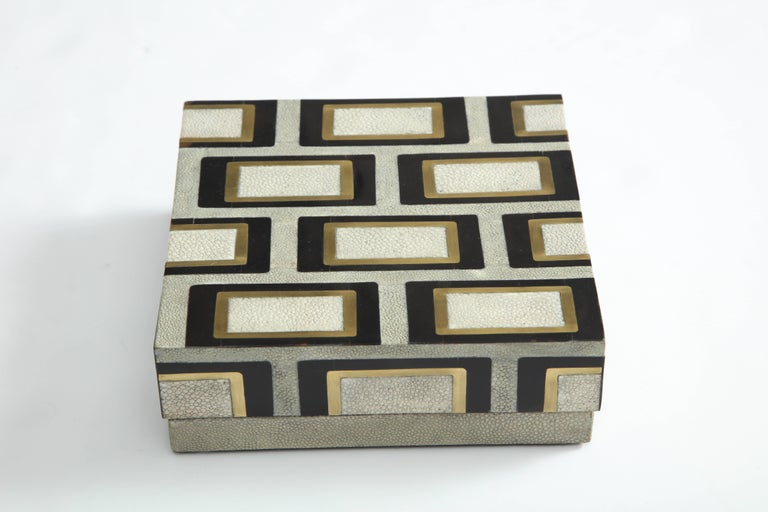 Decorative, large box in shagreen, bronze and palm wood.