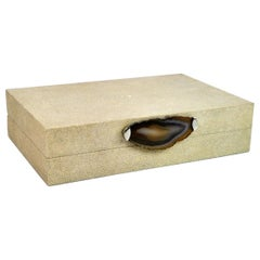 Shagreen Box with Agate Slice BX379 by Ginger Brown