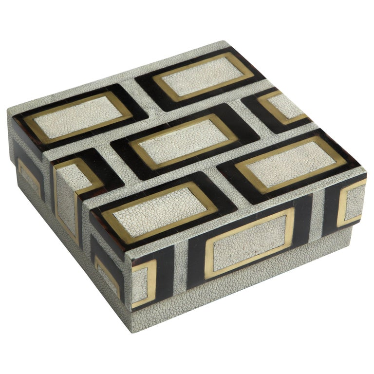 Shagreen Box with Bronze and Palm Wood Details For Sale