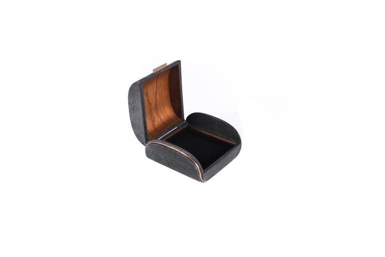 Shagreen Box with Bronze-Patina Brass Details by Kifu Paris 4