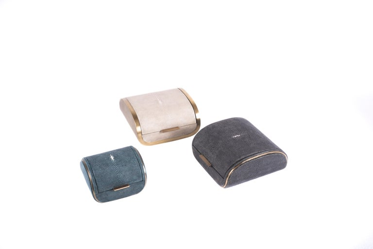 Shagreen Box with Bronze-Patina Brass Details by Kifu Paris 7