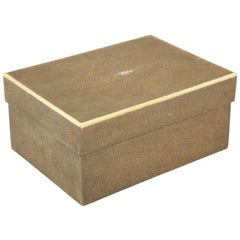 Shagreen Box with Decorative Inlay, Coco Brown