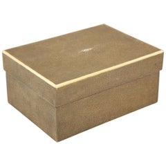 Shagreen Box with Decorative Inlay, Coco Brown, in Stock
