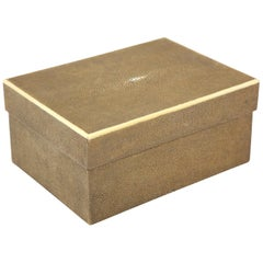 Shagreen Box with Decorative Inlay, Coco Color, in Stock