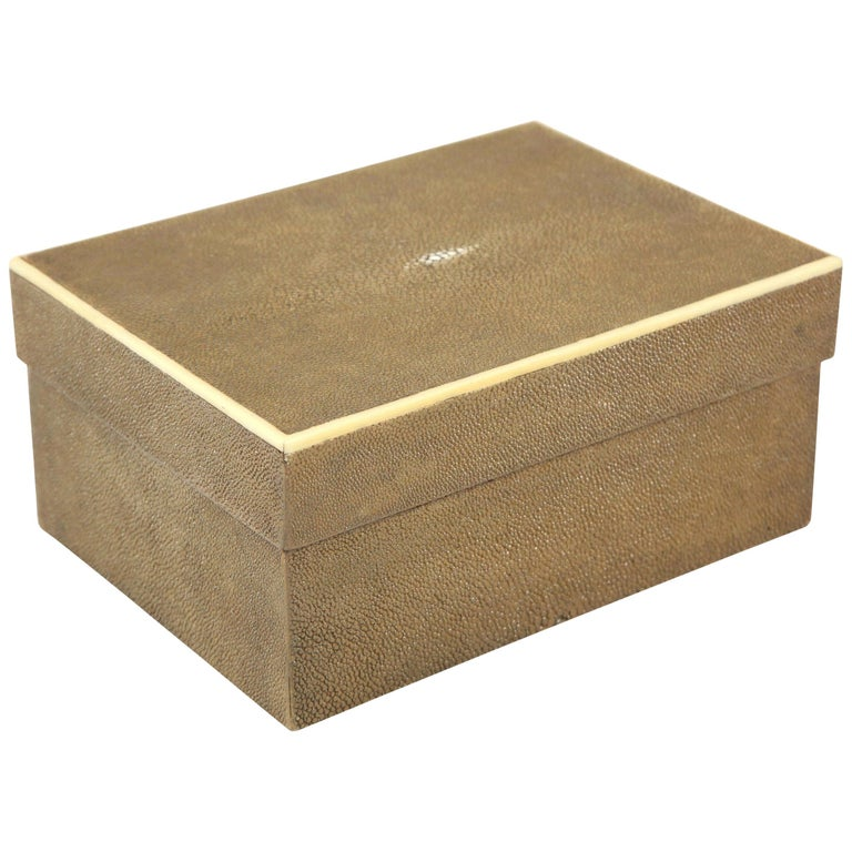 Shagreen Box with Decorative Inlay, Coco Color, in Stock For Sale