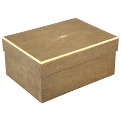 Shagreen Box with Decorative Inlay, Coco Color, in Stock, Great Gift