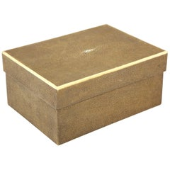 "Shagreen Box with Decorative Inlay, Coco Color, ""Shoe Box"", in Stock, Great Gift"