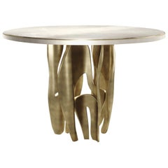 Shagreen Breakfast Table with Sculptural Brass Legs by R & Y Augousti