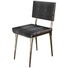 Shagreen Chair with Palmwood and Bronze-Patina Brass Details by Kifu Paris