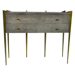Shagreen Chest of Drawers with Antique Brass Patina Legs by Ginger Brown