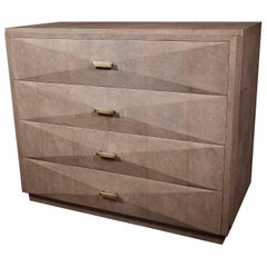 Shagreen Chest of Drawers with Beveled Drawers by R & Y Augousti