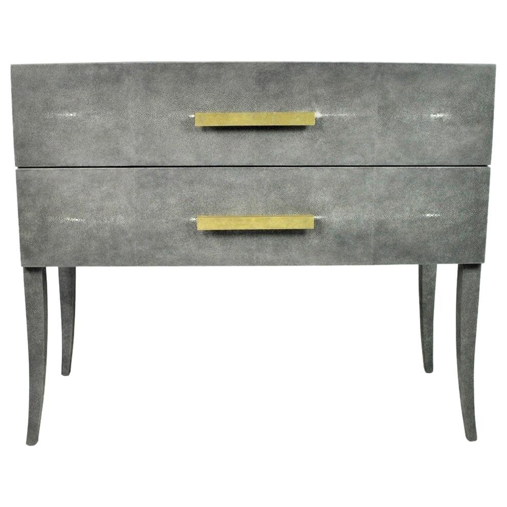 Shagreen Chest of Drawers with Hammered Brass Handles by Ginger Brown