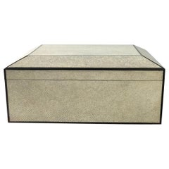 Shagreen Cigar Humidor Box with Ebony Inlay